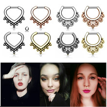 1PC Titanium Hoop Nose Ring Nose Septum Piercing Fake Rings Clicker Daith Ear Cartilage Nariz Earring for Women Body Jewelry 16g 1pc copper nose ring nose septum hoop rings piercing clicker daith ear helix cartilage nariz earring for women body jewelry 16g