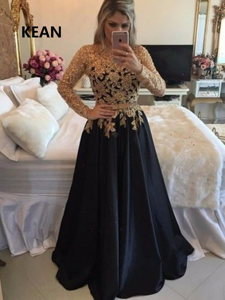 Black Evening Dress Gold Appliques Full Sleeve Robe De Soiree Islamic Dubai Kaftan Saudi Arabic  Vestidos Prom Dress