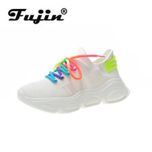 Fujin Sneakers Women Fashion Flat Bottom Dropshipping Air Mesh Breathable Muffin Cross Tied Lace Leisure Autumn Shoes