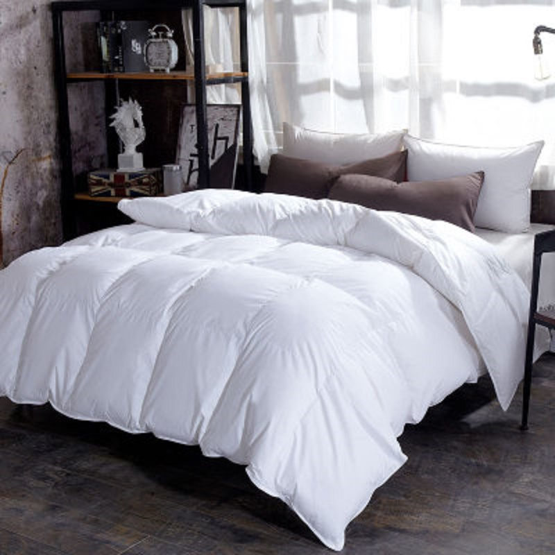 Fluffy Comfort  100% Goose Down Duvet Quilted Quilt King Queen Full Size Comforter Winter Thick Blanket Solid Color