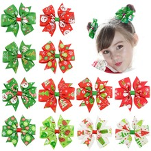 12pcs/lot 3 Dovetail Grosgrain Floral Ribbon Bows with Clip Kids Girls Organza Hair For Christmas Day Accessories