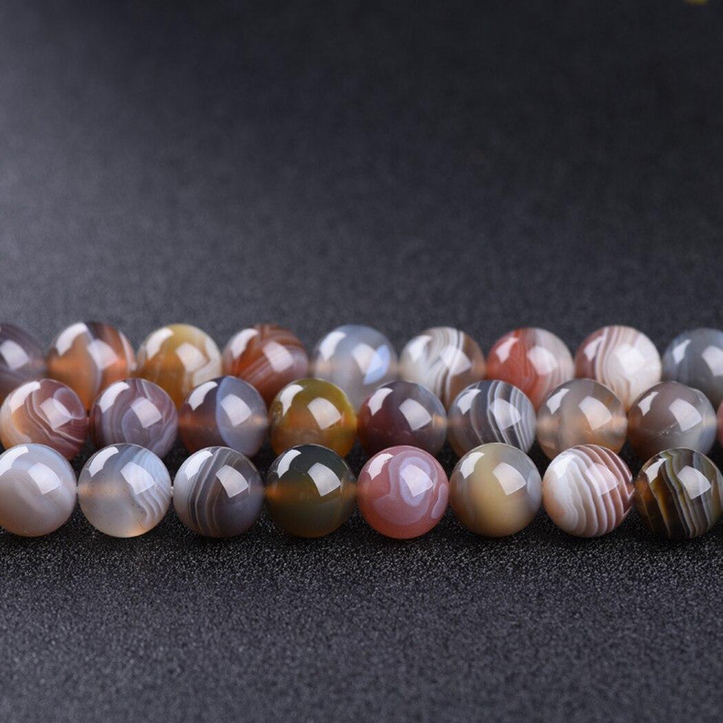 Agate boswana naturelle 5-12mm perles de pierres précieuses rondes pour 925 bijoux en argent sterling fabrication collier Bracelet 15 pouces ICNWAY