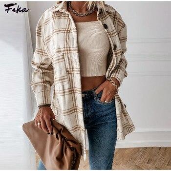 Oversize Women's Plaid Shirt Jackets Long Sleeve Ladies Tops Outwear 2021 Spring Autumn Loose Women Blends Check Buttons Coats 1