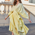 TWOTWINSTYLE Casual Kleider Weibliche V Neck Laterne Langarm Hohe Taille Unregelmäßigen Rand Geraffte Sommer Kleid Frauen Mode Kleidung