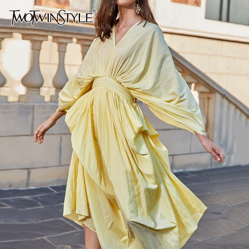 TWOTWINSTYLE Casual Dresses Female V Neck Lantern Long Sleeve High Waist Irregular Hem Ruched Summer Dress Women Fashion Clothes