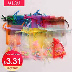 100 pcs/lot 5*7 cm, 7*9 cm, 9x12cm organza sac noël mariage cadeau sac bonbons emballage bijoux emballage sacs cadeau pochettes 23 couleurs