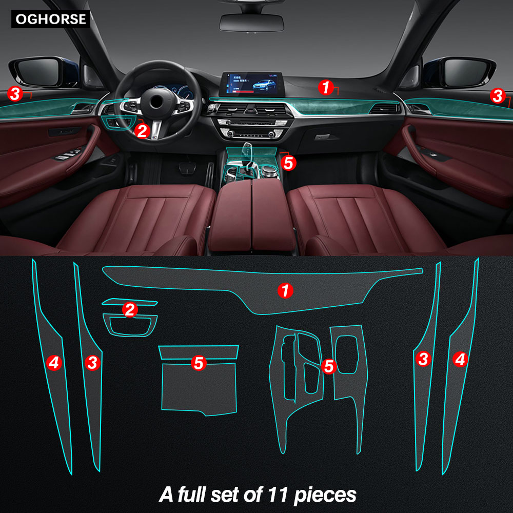 Car Interior Protective Film Central Console Gear Panel Stickers Selfing Healing Cover For BMW 5 Series G30 2017-On Accessories