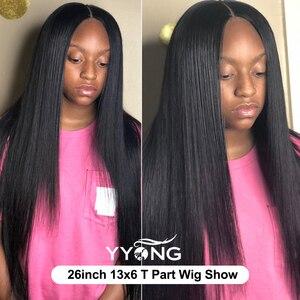 Image 5 - Прямые парики YYong на сетке 1x6 T, парики на сетке спереди со швейцарскими невидимыми узлами, HD парик из человеческих волос на прозрачной сетке спереди