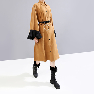 Image 2 - New 2019 Women Winter Long Straight Khaki Shirt Dress & Belt Flare Sleeve Knee Length Lady Cute Party Midi Dress Robe Femme 5701