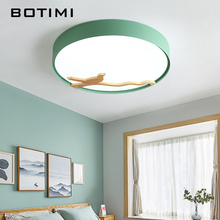 BOTIMI Nordic Wood Bird Decor Led Ceiling Lights For Living Room 220V Round Metal Ceiling Lamp Surface Mounted Lighting Fixture trazos led round ceiling lights nordic style ceiling mounted lamp for bedroom dining living room wooden kitchen lighting fixture