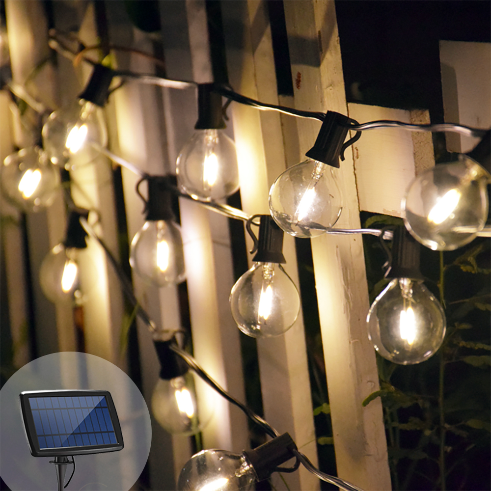 Solar Globe Bulb String Lights Retro Edison 18/25ft LED Garland Umbrella Solar Lights Waterproof For Garden Party Lighting