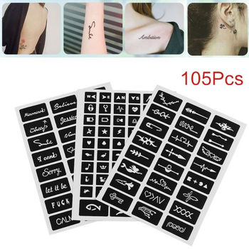 105pcs Pattern Temporary Tattoo Stencil Henna Hollow Drawing Tattoo Fashion Design For Hand Arm Leg Body Art Template