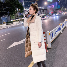 Fitaylor, Женская двухсторонняя длинная куртка, зимняя двубортная теплая парка, белое пуховое пальто