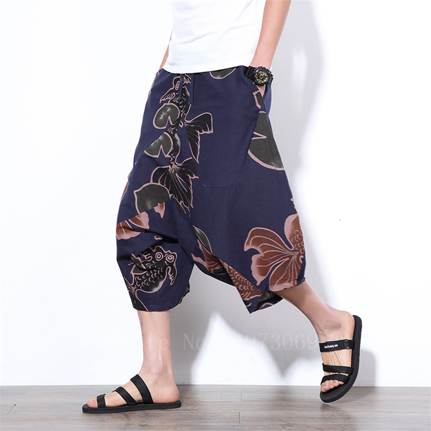 Men's Japanese Harajuku Style Wide Lege Pants Fashion Summer Floral Print Harem Trousers Three Quarter Length Loose Pants