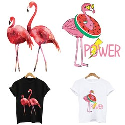 Iron-on transfers for clothing Flamingo stripes appliques thermo stickers on clothes heat-sensitive patches free shipping tops