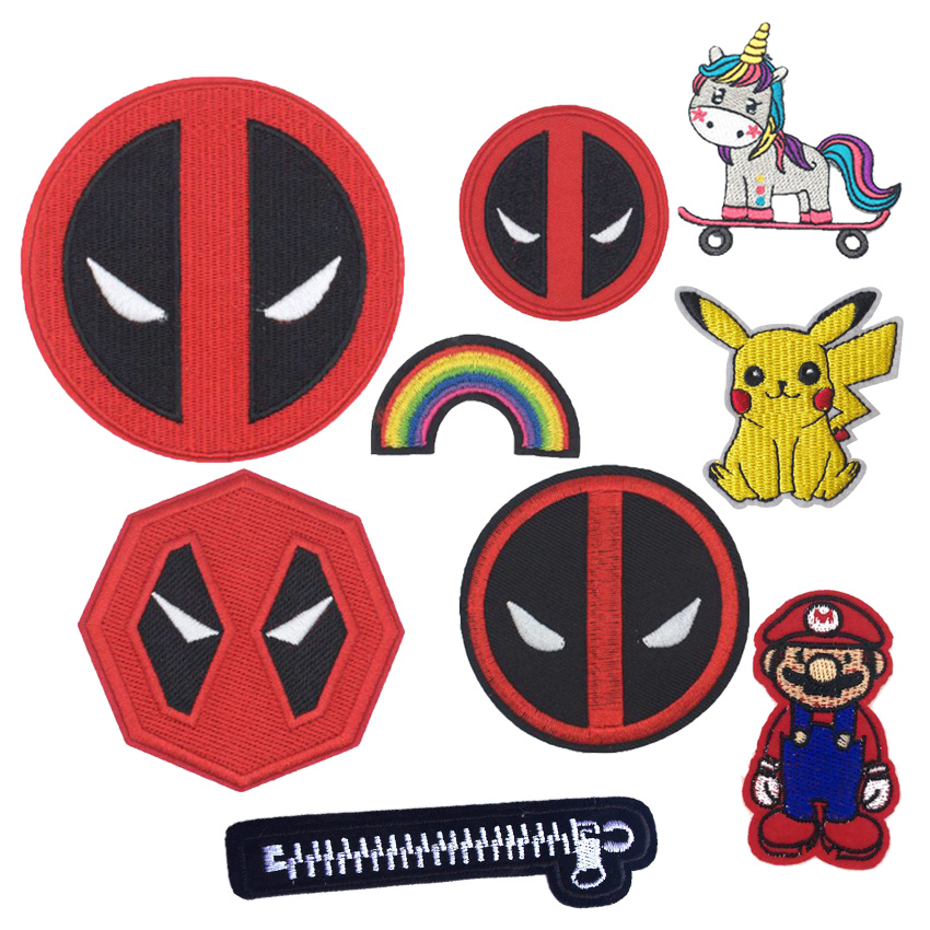 1PCS New Arrival Zipper Movie Rainbow Horse Patch EYES Pikachu Parches Patches Halloween Costume Embroidery