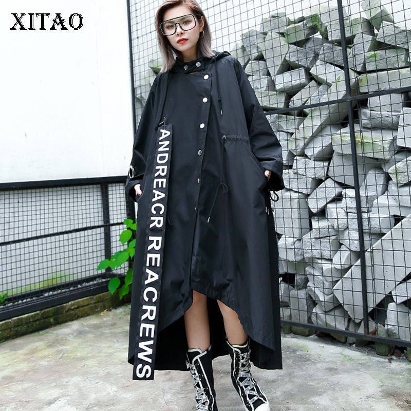 XITAO Patchwork Print Iron Ring Long Trench Women Clothes 2019 Fashion Plus Size Pocket Hooded Collar Full Sleeve Coat GCC1685