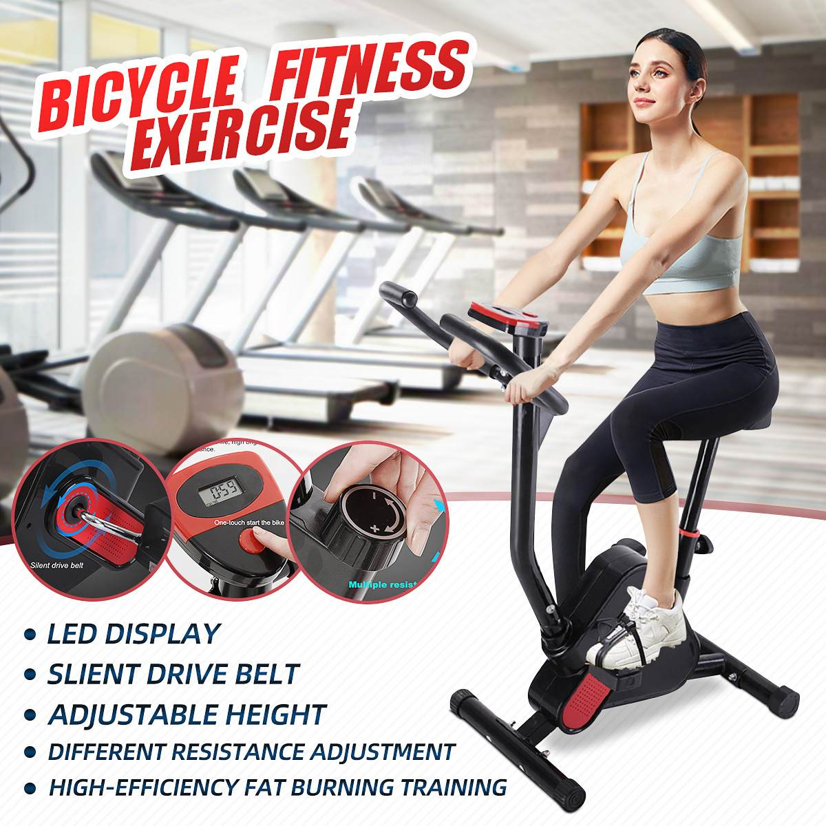 Vélo stationnaire d'exercice de Cycle d'intérieur avec le moniteur d'affichage à cristaux liquides - 5