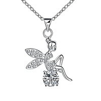 CU01 Elegant Zirconia Stone Love Girl Pendent Necklace Female wedding Jewelry