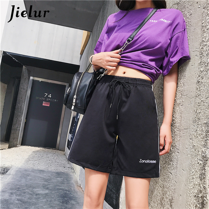 Jielur Shorts Women Black Pocket Elastic Waist Korean Short Loose Casual Vintage Fashion Shorts Summer Harajuku Cool Short Mujer