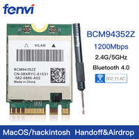 Dual band Wireless Hackintosh BCM94352Z BCM94360NG WIFI Card Broadcom M.2 1200Mbps Bluetooth 4.0 NGFF 802.11ac Adapter DW1560