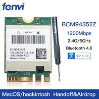 Dual band Wireless Hackintosh BCM94352Z BCM94360NG WIFI Card NGFF M.2 1200Mbps Bluetooth4.0 NGFF 802.11ac Wlan Adapter DW1560