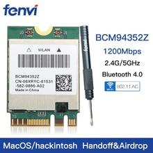 لاسلكي متعدد الموجات Hackintosh BCM94352Z BCM94360NG WIFI بطاقة NGFF M.2 1200 150mbps Bluetooth4.0 NGFF 802.11ac Wlan محول DW1560