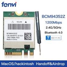 Hackintosh tarjeta WIFI inalámbrica de doble banda BCM94352Z BCM94360NG NGFF M.2 1200Mbps Bluetooth 4,0 NGFF 802.11ac adaptador Wlan DW1560