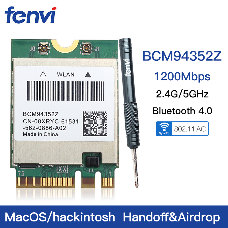 Dual band Wireless Hackintosh BCM94352Z BCM94360NG WIFI Card NGFF M.2 1200Mbps Bluetooth4.0 NGFF 802.11ac Wlan Adapter DW1560(China)