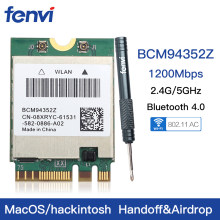 להקה כפולה אלחוטי Hackintosh BCM94352Z BCM94360NG WIFI כרטיס NGFF M.2 1200Mbps Bluetooth4.0 NGFF 802.11ac Wlan מתאם DW1560(China)