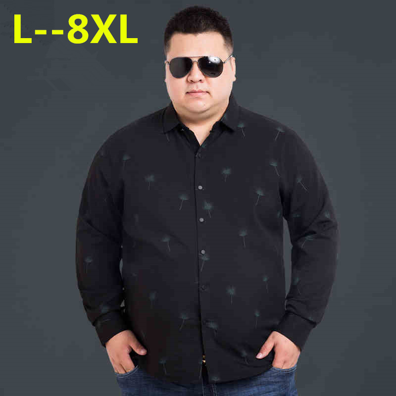 Plus 8XL 6XL 5XL 4XL Floral Printed Men Casual Shirts Classic Men Dress Shirt Men's Long Sleeve Brand New Fashion Spring Shirts