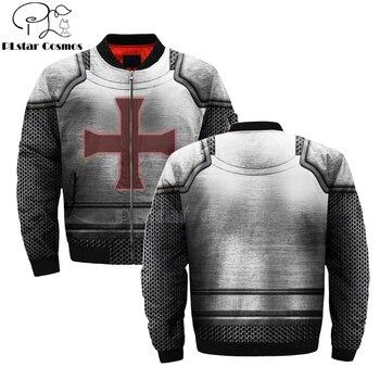 Knights Templar Art Tracksuit 3D Men's bomber jackets Hoodie Men Women New Fashion Zipper Hooded Long Sleeve Pullover Style new fashion women female korean short type long sleeve slim motor zipper leather jackets coats