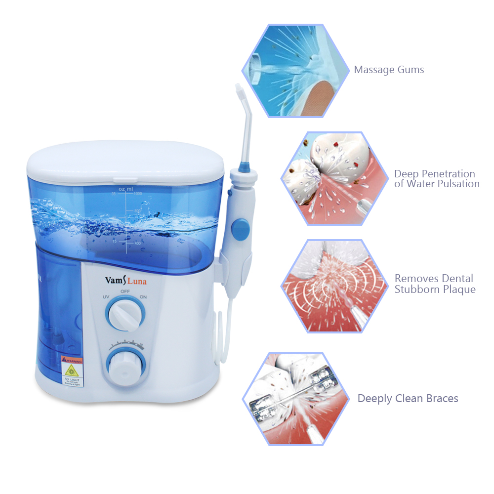 Image 4 - VamsLuna Water Flosser   O.two.O Dental Oral Irrigator Spa With 1000ML Tank And UV Disinfection For 7 Nozzles With Spain Manual-in Oral Irrigators from Home Appliances