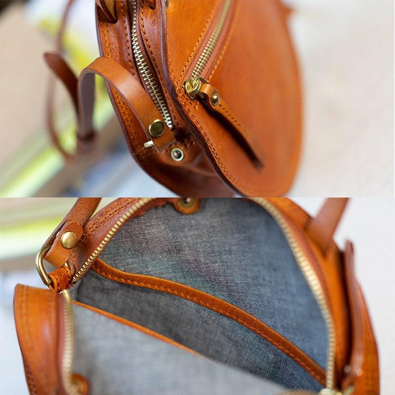 EUMOAN ручная кожаная маленькая круглая сумка, Ретро Милая художественная круглая коробка в форме сумки на плечо - 4