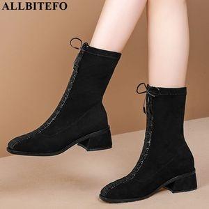 Image 2 - ALLBITEFO hot sale genuine leather+Elastic flock Square toe women boots Frenulum ankle boots Autumn Winter Classic fashion boots