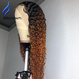 Image 5 - ALICROWN Ombre מתולתל תחרה מול שיער טבעי פאות עם תינוק שיער 13*4 התיכון מנת שאינו רמי שיער תחרה פאות מראש קטף פאות