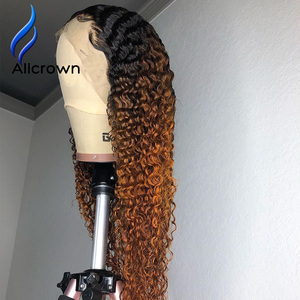 Image 5 - ALICROWN Ombre Curly Lace Front Human Hair Wigs with Baby Hair 13*4 Middle Ration Non Remy Hair Lace Wigs Pre Plucked Wigs