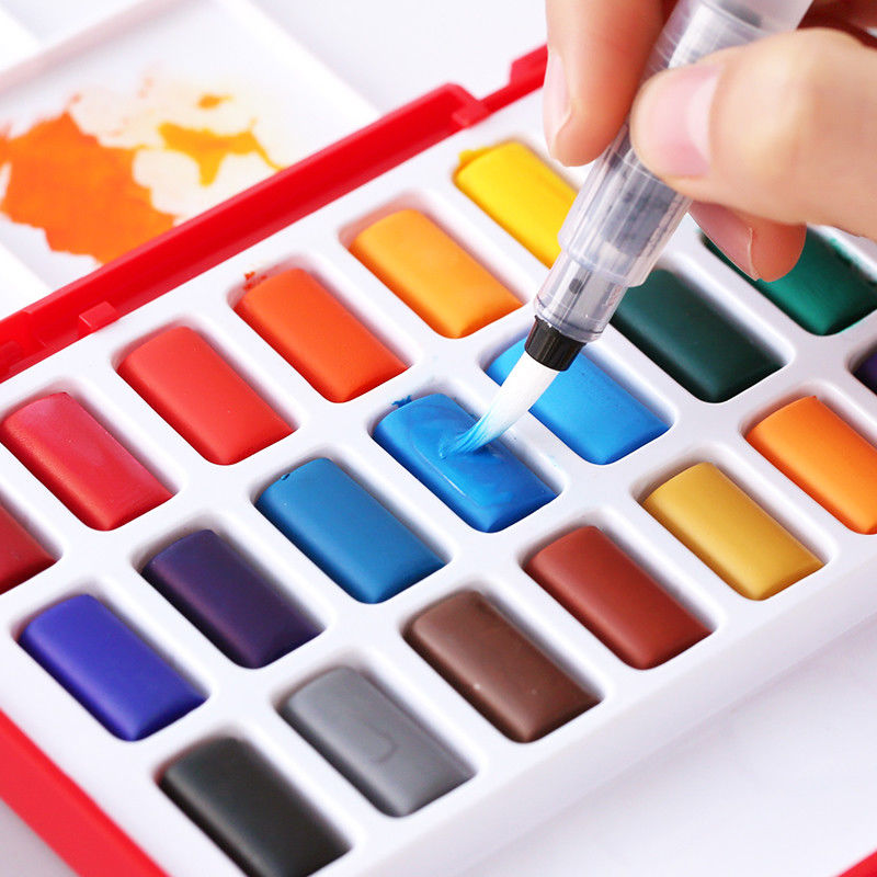 FABER-CASTELL 24/36/48 Colors Solid Watercolor Cakes Paints Set Drawing Paint