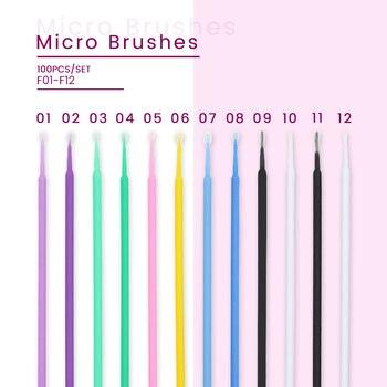 100pcs Disposable Eyelash Cotton Swabs Eyelash Extension Individual Cleaning Sticks Brushes for Eyes Micro Brushes Applicator