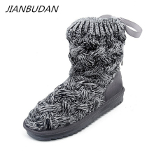 JIANBUDAN Winter plush warm new womens snow boots  Knitted wool Comfortable cotton shoes Lace-Up high top 35-40