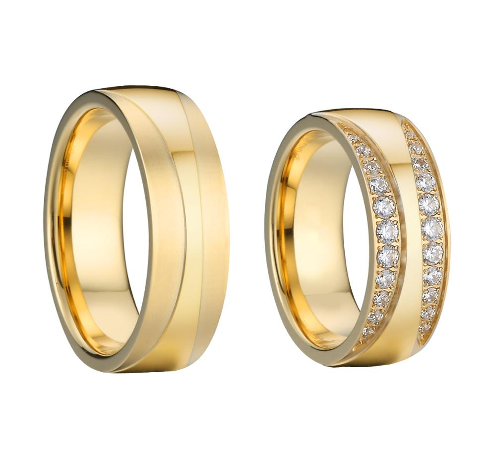 Custom Big Alliance Love wedding band <font><b>couple</b></font> <font><b>rings</b></font> <font><b>set</b></font> for men and women image