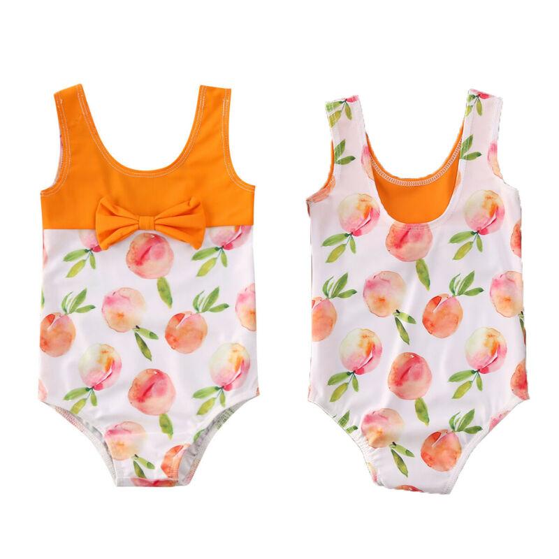 Toddler Kids Baby Girls Peach Bow Swimwear Sleeveless Orange Swimsuit Bikini Summer Casual Beach Bathing Suit Swimming Beachwear
