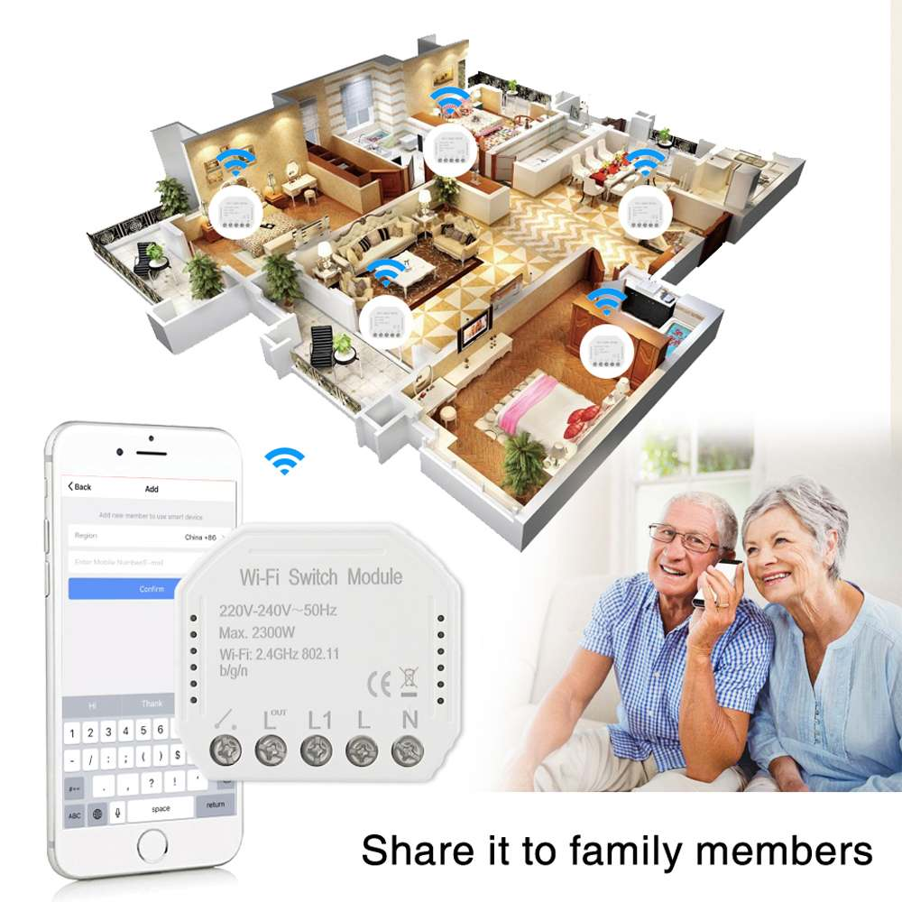 2 Way Diy WIFI Smart Light Switch  Breaker Module Smart Life Wireless Remote Control Works With Alexa /Google Home