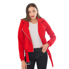 Fall Plus Size Coat with Sashes Women Clouthes Female Bomber Short Winter Zipper Turn-down Collar Solid Casual