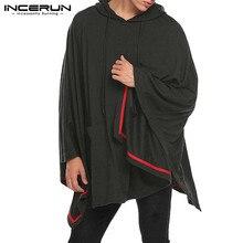 Cloak Cape Poncho INCERUN Hoodies Loose-Coats Pockets Long-Sleeve Casual Fashion Mens