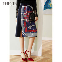 Silk Knitted Patched High Waisted Skirt 2019 Pre Fall Fashion Printed Midi Skirt with Side Split 2019 Summer