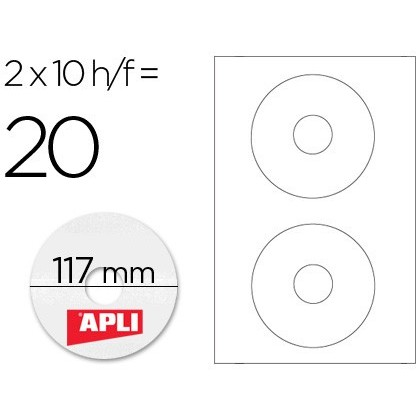ADHESIVE LABEL APLI 10603 SIZE CD-ROM 117 MM FOR LASER COPIER INK-JET BOX WITH 10 SHEETS/20 TAGS