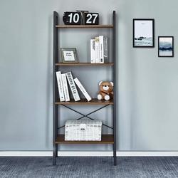 Книжная полка с 4 ярусами, угловая полка, полки для хранения, промышленный книжный шкаф, деревянная мебель, органайзер для хранения гостиной
