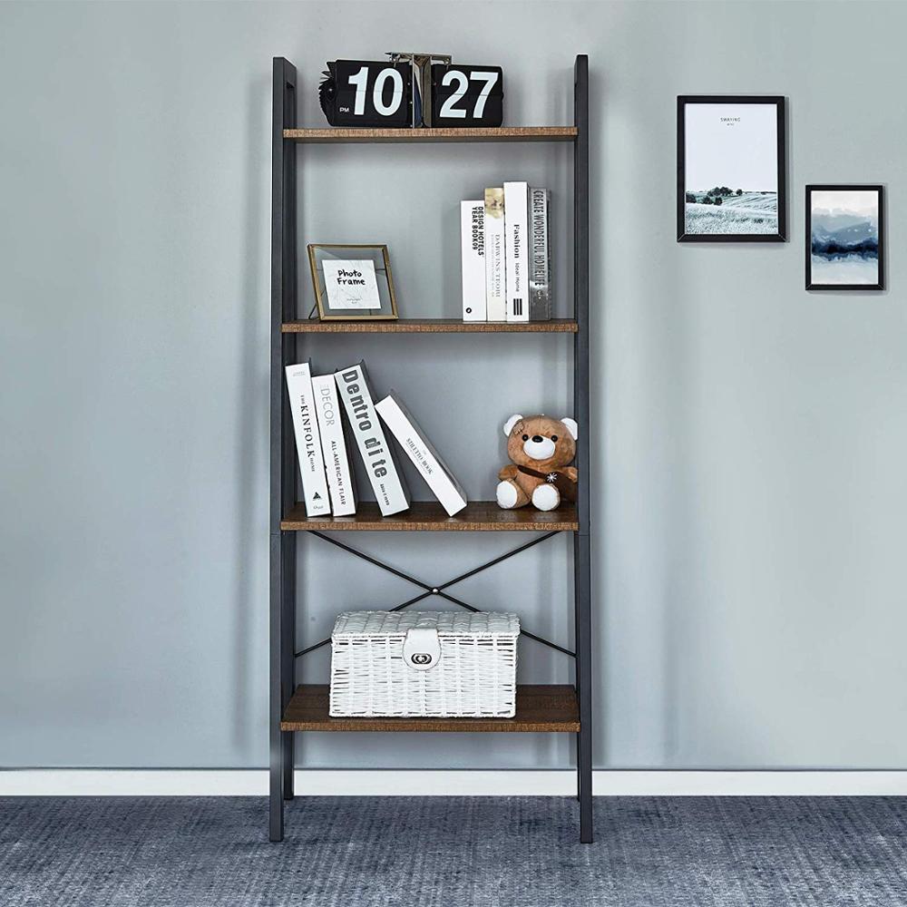 Bookshelf With 4 Tiers Corner Shelf Shelves And Storage Industrial Bookcase Wood Furniture Living Room Storage Organizer
