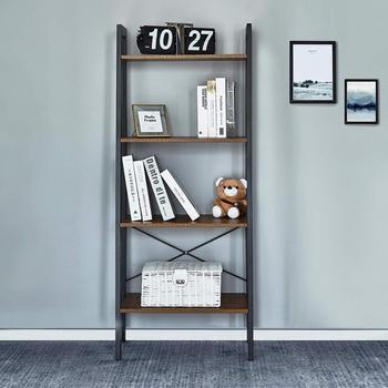 цена Bookshelf with 4 Tiers Corner Shelf Shelves and Storage Industrial Bookcase Wood Furniture Living Room Storage Organizer онлайн в 2017 году